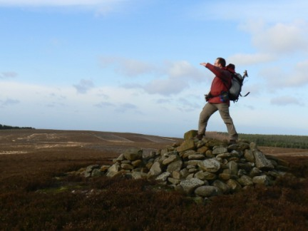 On the summit cairn of Great Ayton Moor