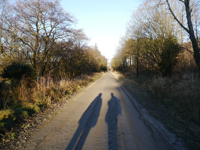 The low winter sun cast long shadows behind us