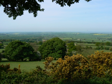 A hazy view of the Vale of Mowbray from Rueberry Lane