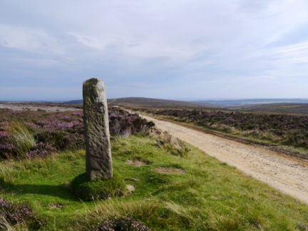 A stone guidepost on Rudland Rigg
