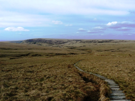 Looking back along the Pennine Way to Black Chew Head