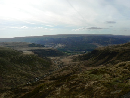 Looking back down Crowden Great Brook to Bleaklow