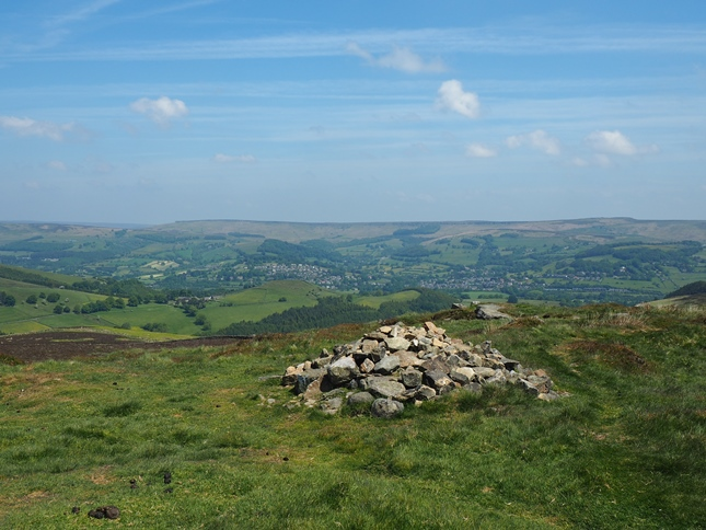 Looking across the Derwent valley to Hathersage and Stanage Edge