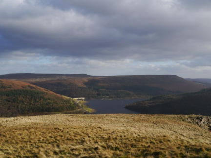 Looking across Ladybower to Stanage Edge and Bamford Edge
