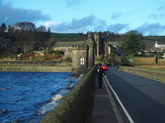 Crossing Langsett Reservoir's dam