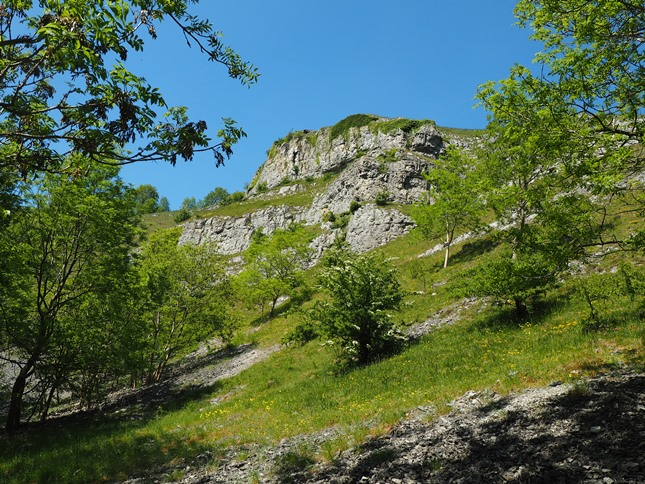 My first glimpse of one of the limestone scars above Lathkill Dale