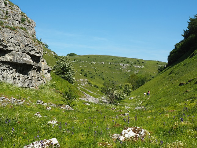Looking back along Lathkill Dale, Jacob's Ladder can be seen in the foreground