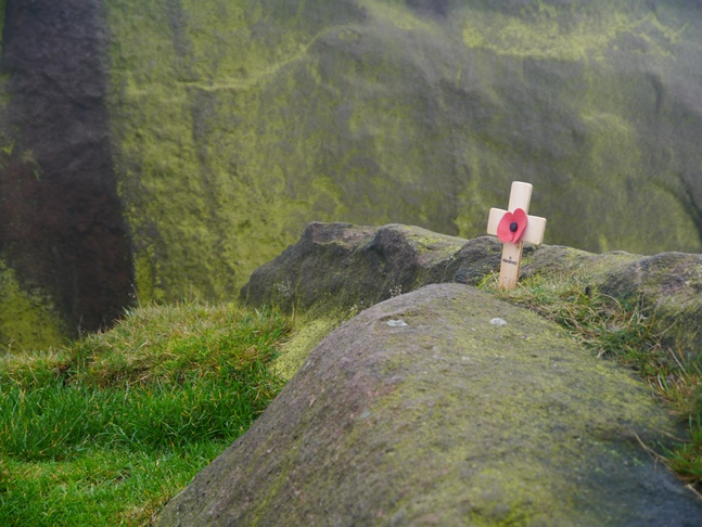 A small Remembrance Day cross by Bearstone Rock
