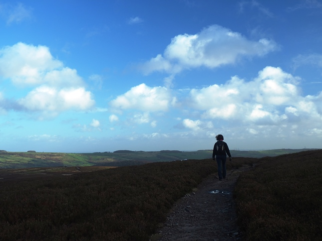 Lisa on the bridleway crossing Midhope Moor between Mickleden Edge and North America