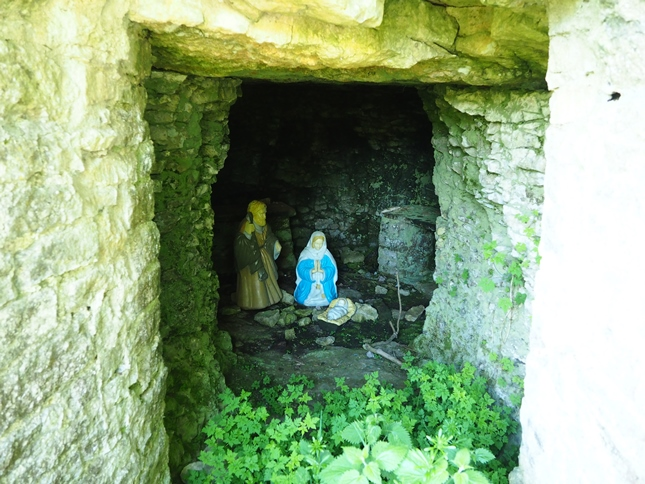 The cave containing a nativity scene at One Ash Grange Farm