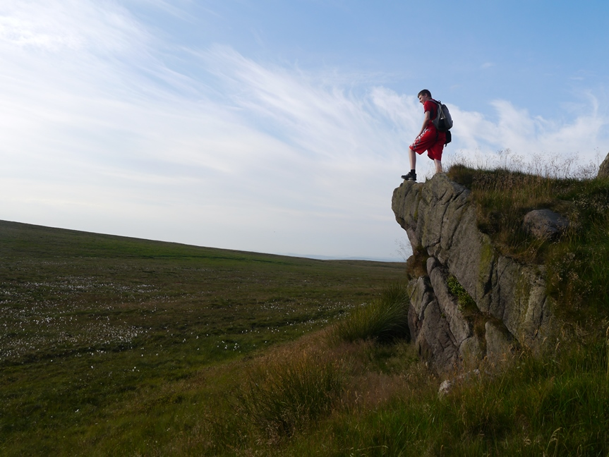 Jack on a prominent outcrop on Axe Edge Moor