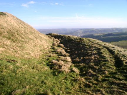 Traces of the ramparts of the Iron Age hillfort on Mam Tor