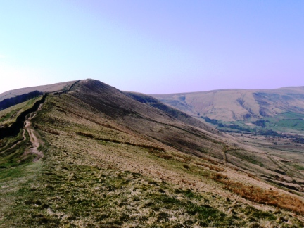 Looking back up to Rushup Edge