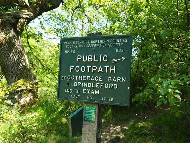 A Peak District & Northern Counties Footpath sign near Stoke Ford