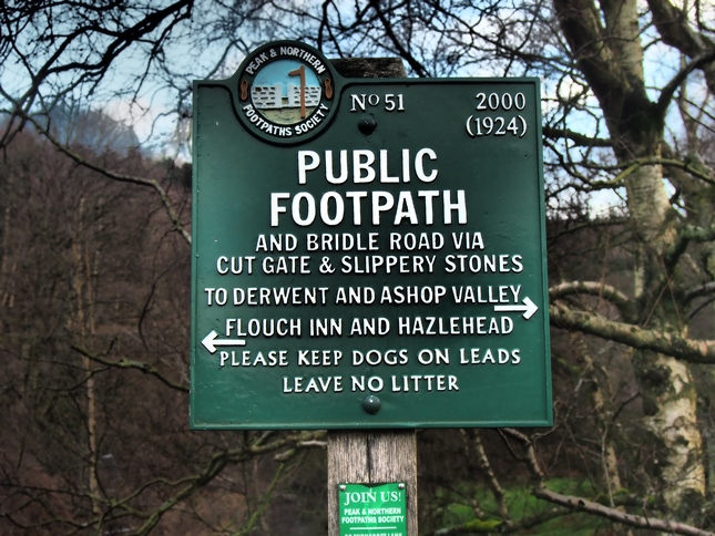 The Peaks and Northern Society Footpath sign at Brook House Bridge