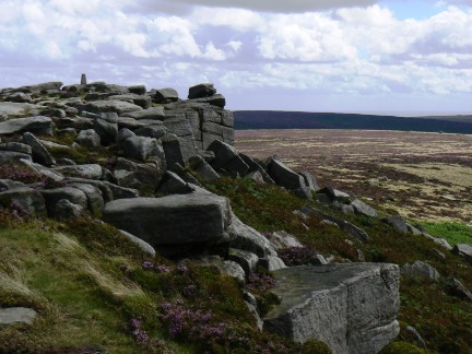 Approaching the trig point on the south end of Stanage Edge