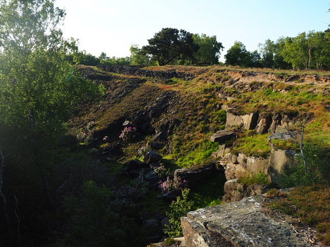 Looking down in to Stanton Moor Quarry