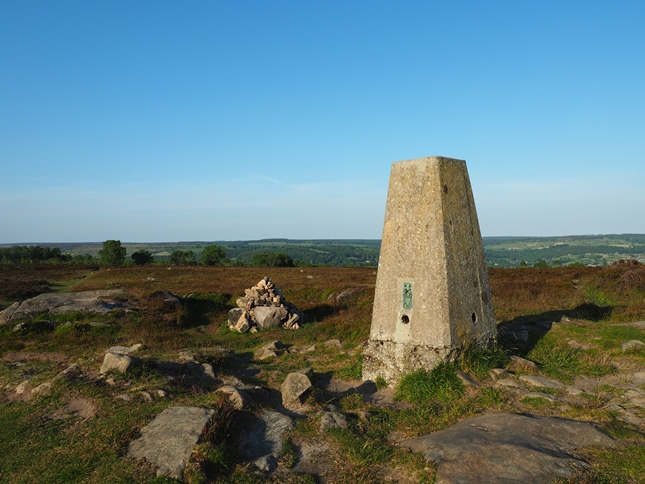 The trig point on Stanton Moor
