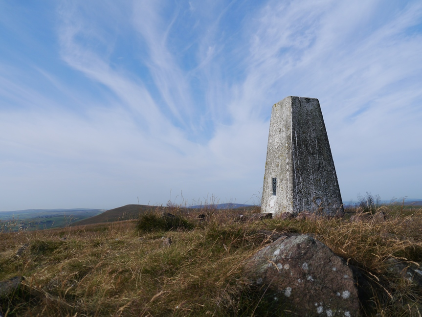 The trig point on the top of Axe Edge Moor