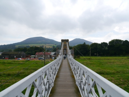 Looking along Chain Bridge with the Eildons in the background