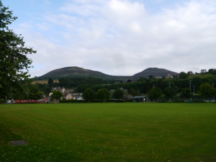 The Eildon Hills from Gibson Park
