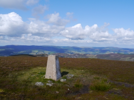 The trig point on Hundlehope Heights looking towards the Moorfoot Hills