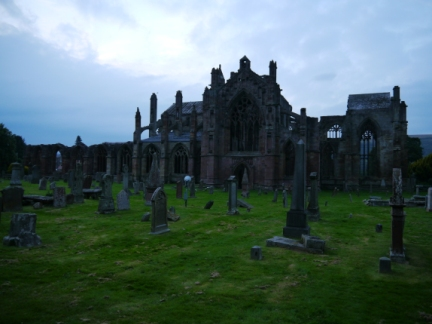 Melrose Abbey looking rather spooky in the fading light