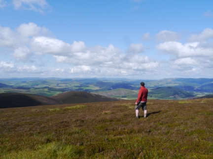 Enjoying the view north towards the Pentlands from Stob Law