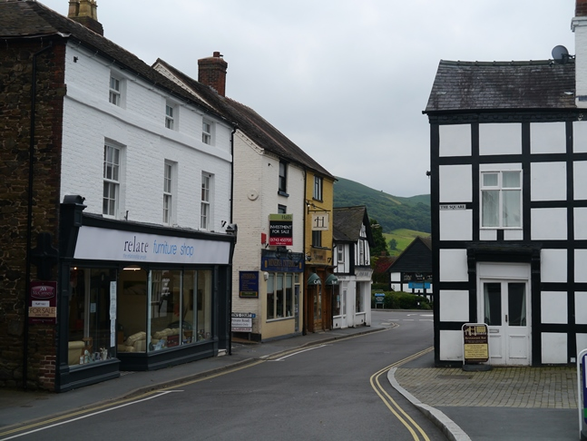 Church Stretton High Street with a glimpse of Ragleth Hill