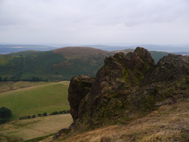 Hope Bowdler hill from one of the rocky outcrops on Caer Caradoc