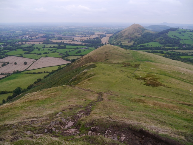 Looking back down to Little Caradoc