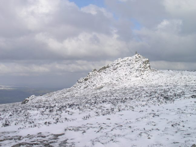 The top of Stiperstones in the snow on my first very brief trip into the Shropshire Hills