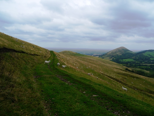 The fine path contouring around to Little Caradoc