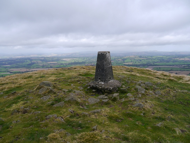 The trig point on the top of Titterstone Clee Hill