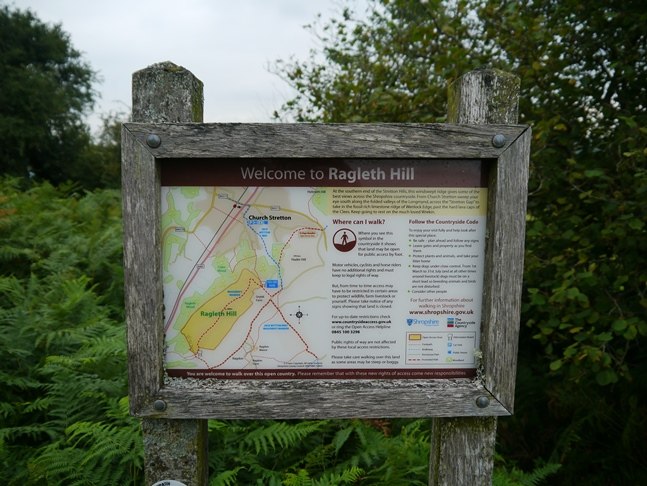 Information board at the entrance to access land on Ragleth Hill