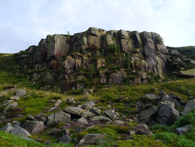 Looking up at Ilkley Crags