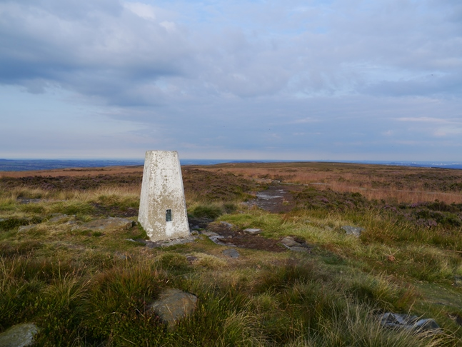 The trig point on the summit of Ilkley Moor