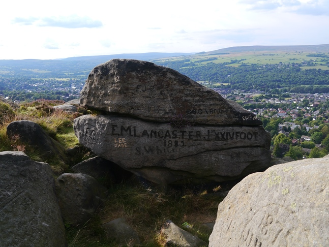 One of a number of rocks that have been heavily graffitied