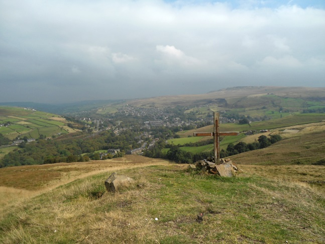 The view of Marsden from the war memorial on Pule Hill