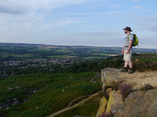 Enjoying the view from Ilkley Crags