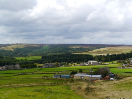 Looking across Soil Hill Farm towards Ovenden Moor