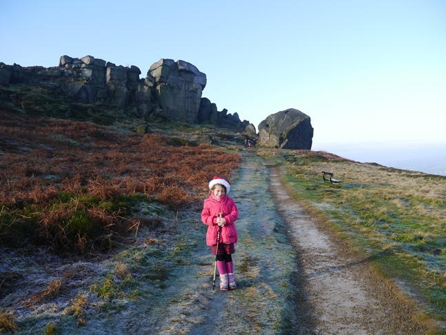 Rhiannon heading for the Cow and Calf rocks