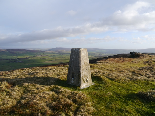 The trig point on the top of Skipton Moor