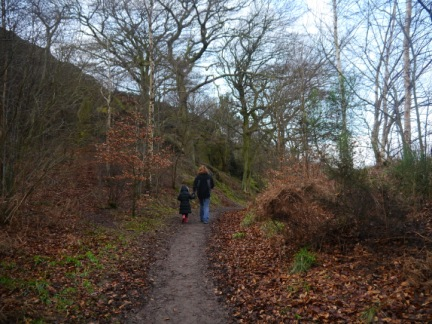 The girls walking through the woods by East Chevin Quarry