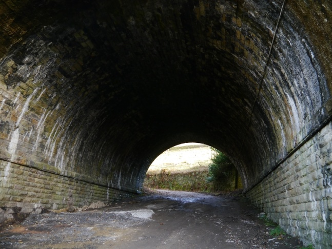 Crossing under the railway at the near the start of the walk