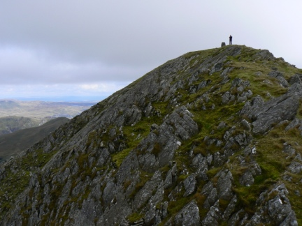 A more distant shot of Dave on Moelwyn Mawr