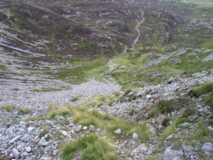 Looking down the Miner's Path into Cwm Tryfan