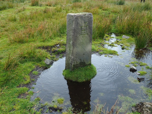 One of the boundary stones on Brown Wardle Hill, the stones mark the boundary between the old parishes of Spotland and Hundersford