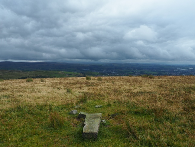 The view south-east towards Littleborough from the fallen boundary stone