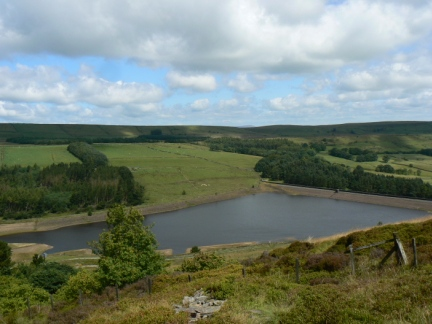 Looking back down to Calf Hey Reservoir